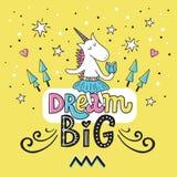 Unicornio lindo del garabato con las letras grandes ideales libre illustration