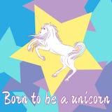 Unicornio lindo en fondo coloreado Llevado ser un unicornio Ilustración del vector ilustración del vector