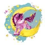 Unicornio lindo en la luna ejemplo del cielo del cuento de hadas de la noche de la acuarela stock de ilustración