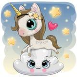 Unicornio lindo a en la nube libre illustration