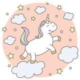 Unicornio lindo en las nubes libre illustration
