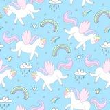 Unicornio lindo en un fondo rosado Modelo del vector Imagen de archivo