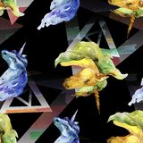 Unicornio lindo Ilustración de la acuarela dibujo del watercolour Modelo inconsútil del fondo Textura de la impresión del papel p libre illustration
