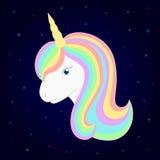 Unicornio lindo Vector la cabeza del unicornio con la melena y el cuerno hermosos del arco iris Fondo estrellado Foto de archivo libre de regalías