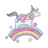 Unicornio lindo y nubes libre illustration