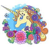 Unicornio mágico lindo Fotos de archivo
