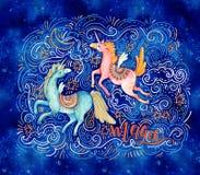 Unicornio precioso en estilo de la historieta Magia, poniendo letras ilustración del vector