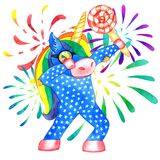 Unicornio que frota stock de ilustración