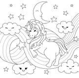 Unicornio que juega con la trayectoria del arco iris para el elemento del diseño y la página del libro de colorear Ilustración de ilustración del vector