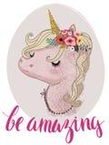 Unicornio rosado del cuento de hadas de la historieta ilustración del vector
