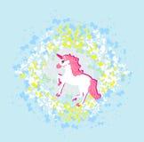 Unicornio rosado hermoso. Imagen de archivo