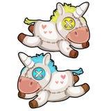 Unicornio suave hecho a mano de dos juguetes Vector aislado libre illustration