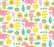 Unicornio y flores Foto de archivo libre de regalías