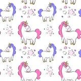 Unicornios de la historieta ilustración del vector