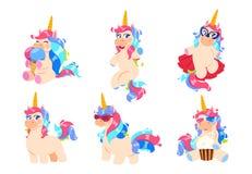 Unicornios de la historieta Sistema mágico lindo del unicornio Animales adorables del vector de la miel del caballo del bebé de l libre illustration