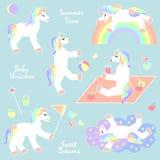 Unicornios del verano fijados libre illustration