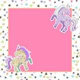 Unicornios en colores en colores pastel en el fondo de corazones Gráficos de vector Marco del rosa del cuadrado Ejemplo para la t stock de ilustración