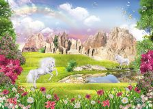 Unicornios en el lago libre illustration