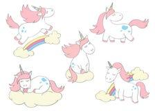Unicornios lindos mágicos fijados en estilo de la historieta Garabatee los unicornios para las tarjetas, carteles, impresiones de Foto de archivo libre de regalías