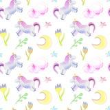 Unicornios, luna, modelo de flores ilustración del vector