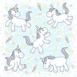 Unicornios mágicos lindos stock de ilustración