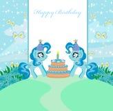 Unicornios y torta de cumpleaños libre illustration