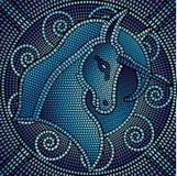 Unicorno blu del mosaico Fotografie Stock Libere da Diritti