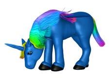 Unicorno blu su bianco Immagine Stock