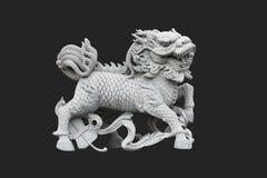 Unicorno cinese isolato nel nero Fotografie Stock