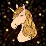 Unicorno con capelli dorati illustrazione di stock