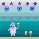 Unicorno con il gelato nello stile di vecchi giochi di computer - illustrazione di vettore illustrazione di stock