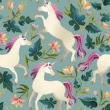 Unicorno d'annata disegnato a mano nel modello senza cuciture della foresta magica Illustrazione di vettore Immagine Stock
