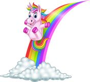 Unicorno del fumetto che fa scorrere su un arcobaleno illustrazione vettoriale