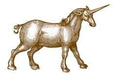 Unicorno del tipo di cavallo pesante muscolare nella vista di profilo illustrazione di stock
