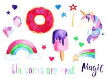 Unicorno dell'acquerello messo: gelato e ciambella Per progettazione, la stampa o il fondo Fotografia Stock