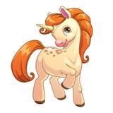 Unicorno diritto del fumetto sveglio Immagine Stock