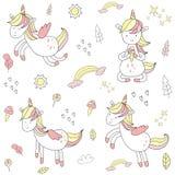 Unicorno disegnato a mano sveglio illustrazione vettoriale