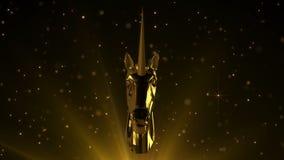 Unicorno dorato su fondo scintillante stock footage