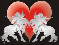 Unicorno e cuore Fotografia Stock