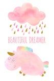 Unicorno e nuvola dell'acquerello con pioggia Fotografie Stock Libere da Diritti