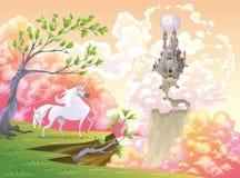 Unicorno e paesaggio mitologico Immagini Stock