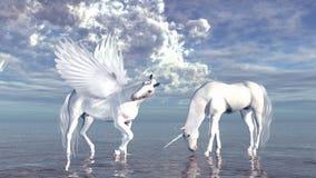 Unicorno e Pegaso Fotografie Stock Libere da Diritti