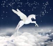 Unicorno fantastico in cielo Fotografia Stock Libera da Diritti
