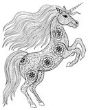 Unicorno magico disegnato a mano per anti spirito adulto della pagina di coloritura di sforzo Immagine Stock