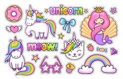 Unicorno magico, gatto, sirena sveglia, arcobaleno, ciambella Insieme degli autoadesivi del fumetto, toppe, distintivi, perni, st illustrazione vettoriale