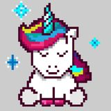 Unicorno magico sveglio, arte del pixel illustrazione di stock