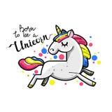 Unicorno magico sveglio Carta romantica con l'unicorno illustrazione vettoriale