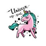Unicorno magico sveglio Carta romantica con l'unicorno royalty illustrazione gratis