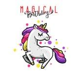 Unicorno magico sveglio Carta romantica con l'unicorno illustrazione di stock