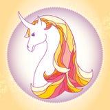 Unicorno mitologico nel telaio rotondo La serie di creature mitologiche Fotografia Stock